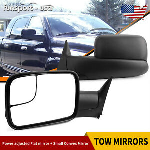 Rh Lh Power Towing Mirrors For 94 97 Dodge Ram 1500 2500 3500 Manual Flip Up