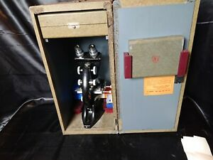 Bausch Lomb 805592 Stereo Microscope Wooden Box Antique Slides Cases Lenses