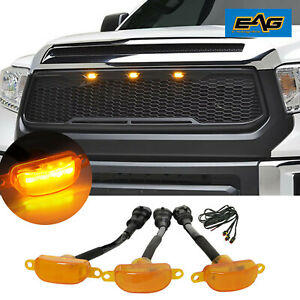 Eag Mesh Led Grille Replacement Upper Grill Black Fit 14 21 Toyota Tundra