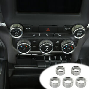 Center Console Ac Radio Switch Knob Cover Trim Ring For Dodge Ram 2018 Silver