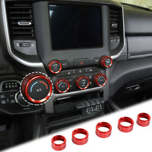 Center Console Ac Radio Switch Knob Cover Trim Ring For Dodge Ram 1500 2018 Red