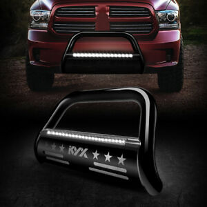 Bull Bar Brush Bumper Grille Guard With Led Light Bar For 09 18 Dodge Ram 1500