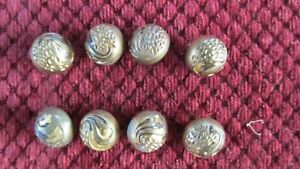 Lot Of 8 Antique Hollow Round Brass Buttons Art Nouveau Vintage Swirl Embossed