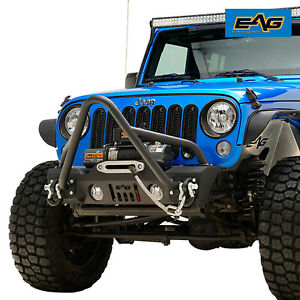 Eag Stinger Front Bumper Stubby With Winch Plate Fit For 07 18 Jeep Jk Wrangler