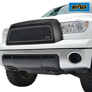 Eag Fits 07 09 Toyota Tundra Black Steel Wire Mesh Rivet Grille
