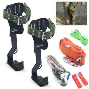 Tree pole Climbing Tool Safety Steel Belt Lanyard Carabiner Climb Spike Fast
