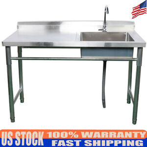 1 Compartment Commercial Kitchen Sink Restaurant Bar Sink Faucet Stainless Steel