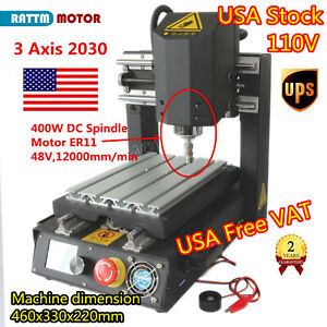 3 Axis Cnc 2030 400w Spindle Wood Router Desktop Mill Drill Engraver Machine us