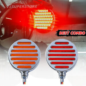Truck Trailer Round 98 led Double Face Stop Tail Turn Signal Pedestal Lights 12v