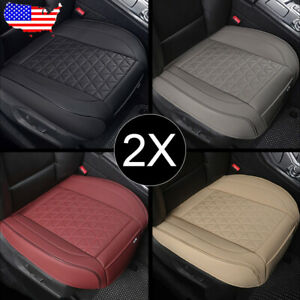 Us 2pcs Universal Car Pu Leather Front Seat Cover Cushion Pad Diamond Pattern