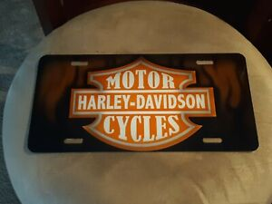 Painted Harley Davidson Auto License Plate Sign