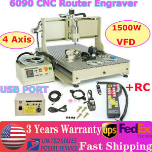 1500w Usb 4 Axis 6090 Router Engraver Engraving Drill Milling Machine controller