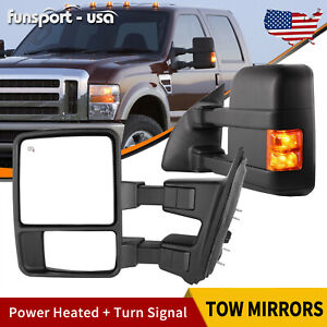 Passenger Driver Side Towing Mirrors Power Heated For 99 07 Ford F250 F550 Truck