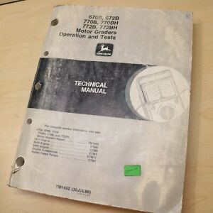 John Deere 670b 672b 770b 772b Motor Grader Repair Shop Service Manual Guide Bh