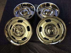 Set Of 4 1967 Chevy 15x6 Corvette Impala Camaro Small Dc Rally Wheels Restored