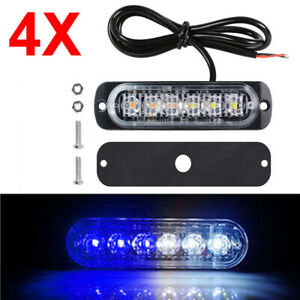 4pc Blue White 6led Strobe Light Car Truck Beacon Flash Warning Hazard Emergency