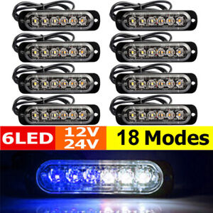 8x Blue White 6led Strobe Light Car Truck Beacon Flash Warning Hazard Emergency
