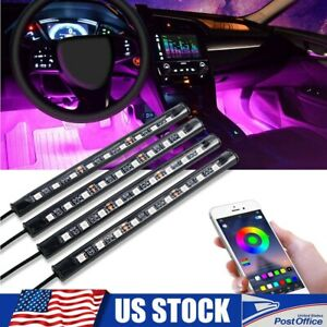 Rgb Led Glow Car Interior Lamp Under Dash Footwell Seats Inside Neon Lighting