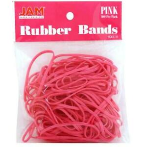 Jam Paper Colorful Rubber Bands Size 33 Pink Rubberbands 100 pack
