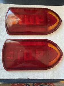 Vintage Guide R t5a stop Turn Signal Light Fire Truck Old Bus Red Glass Lens 2