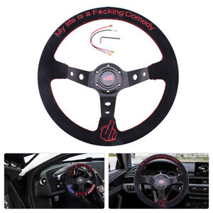 14inch 350mm Suede Leather Grip Steering Wheel Hand 9 5cm Dish For Racing