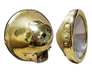1926 1927 Model T Polished Brass Headlights 6 Volt