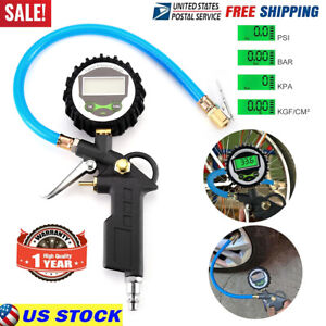 200psi Digital Air Tire Inflator With Pressure Gauge Chuck For Truck Car Bike