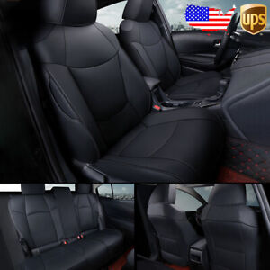 Custom Car Leather Seat Covers Set Cushions Kit For Toyota Camry 2018 2021 Black