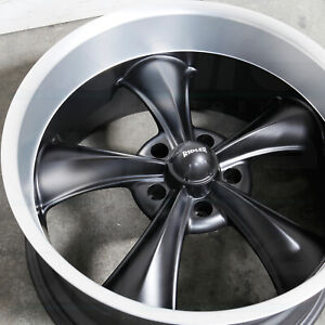 18x8 18x9 5 Matte Black Machined Lip Wheels Ridler 695 5x4 75 5x120 65 0 6 Set