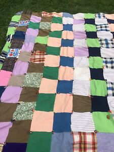 Vintage Handmade Hand Quilt Measurements In The Photos