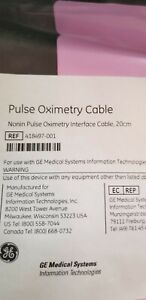 Pulse Ox Nonin Oximetry Interface Cable 20cm 418497 001 Nos Ge Ch Transmitter