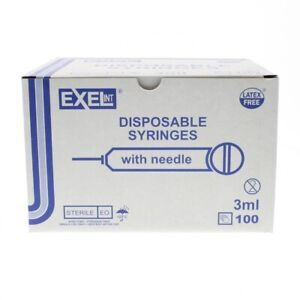Brand New Exel Luer lock 3ml 3cc 23g X 1in 1 Box Of 100