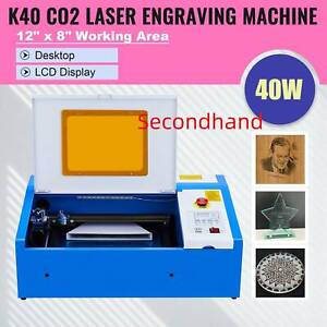Secondhand 40w Co2 Laser Engraving Cutting Machine Engraver Cutter 12 X 8 In K40