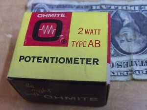 Ohmite Clu5011 Potentiometer Rv4laysa501a 500 Ohms 2 Watt Ab New Usa Nib Nos Vtg