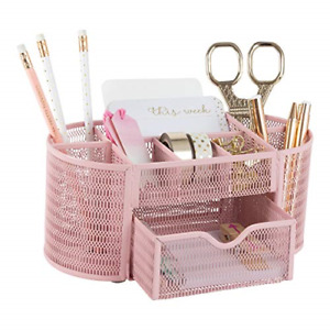 Pink Desk Organizer Girlie Desk Accessories Strong Metal Construction Office
