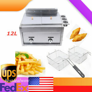 Commercial Restaurant Countertop Family Food Deep Fryer 2tank 6l 570x450x420mm
