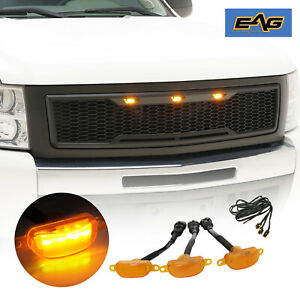 Eag Main Upper Grille Led Grill Replacement W Shell Fit 07 13 Silverado 1500