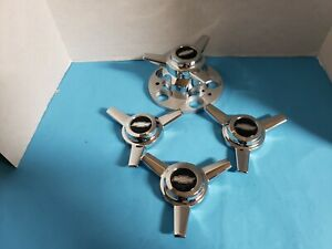 4 Spinners 3 Bar W black Stud Bolt Mount 5 Lug Chevy Truck Rally 70 87