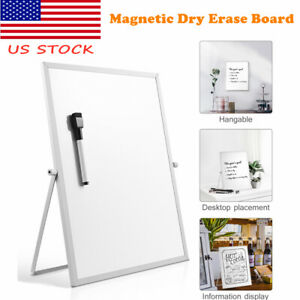 Double Sided Magnetic Dry Erase Board White Board Planner Reminder With Stand