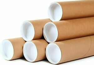 50 2 X 12 Round Cardboard Shipping Mailing Tube Tubes With End Caps