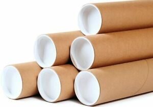 50 2 X 15 Round Cardboard Shipping Mailing Tube Tubes With End Caps
