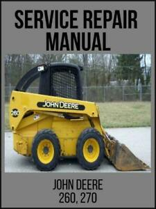 John Deere 260 270 Skid Steer Loader Technical Manual Tm1780 Usb