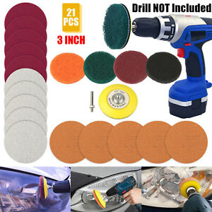 21pcs 3 Inch Car Headlight Polishing Scouring Pad Auto Restoration Kit For Drill