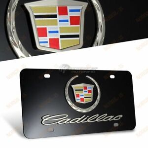 New 3d Cadillac Logo Front License Plate Frame Black Stainless Steel With Caps