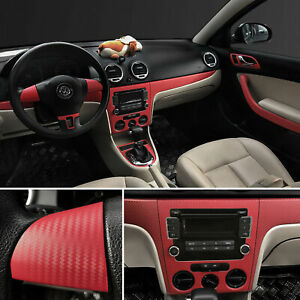 3d Car Red Interior Accessories Panel Carbon Fiber Vinyl Wrap Sticker