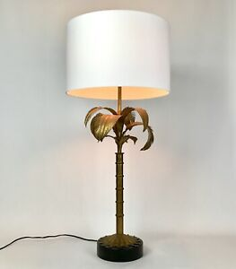 Antique Vintage Italian Palm Tree Lamp Gilt Gold Metal Tole