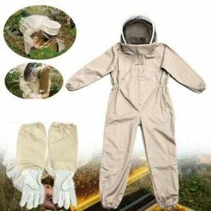 Full Body Anti bee Suit Beekeeping Clothes Cotton Veil Hood Protective gloves Xl