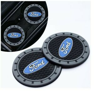 Set Of 2 Pcs Heavy Duty Ford Logo Black Car Coaster Silicone Cup Holder Insert
