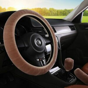 Car Auto Coffee Steering Wheel Cover For Winter Universal Warm Soft Fuzzy Plush