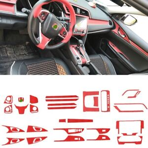 Sticker Fit For Honda 10th Civic 2016 2019 32pcs Red Interior Accessories